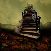 picture of stairway  - Surreal stairway towards the sky like an old painting - JPG