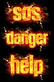 stock photo of sos  - Fire SOS danger help words with burning flames - JPG