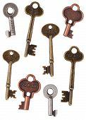 pic of skeleton key  - Skeleton Metal Door Keys Isolated on White - JPG