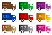 pic of delivery-truck  - Colorful web graphics of a delivery truck and the words Free Delivery on the back of the truck - JPG