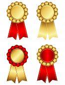 foto of rosettes  - Set of elegant award ribbon rosettes in shiny gold  - JPG