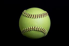 pic of softball  - A yellow 12 inch fastpitch softball that is used for softball - JPG