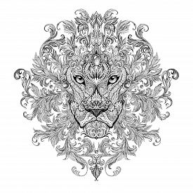 pic of lion  - Tattoo graphics head of a lion with a mane of black and white graphics on a white background with floral ornaments - JPG