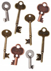 picture of skeleton key  - Skeleton Metal Door Keys Isolated on White - JPG