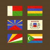 image of mauritius  - Flags of Madagascar Reunion Seychelles Mauritius Mayotte and Comoros - JPG