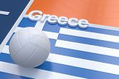 image of volleyball  - Flag of Greece with championship volleyball ball on volleyball court - JPG