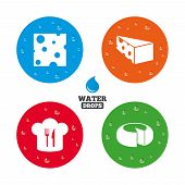picture of meals wheels  - Water drops on button - JPG