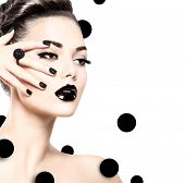 foto of long nails  - Beauty Fashion Model Girl with Black Make up - JPG