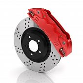 Постер, плакат: Automobile Braking System Aeration Steel Brake Disk With Perforation And Red Six Pistons Calipers A