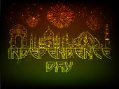 stock photo of indian independence day  - Shiny illustration of famous Indian monuments  on sparkling firecrackers background for Independence Day celebration - JPG
