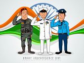 foto of indian independence day  - Illustration of saluting army officers on national flag color waves and Ashoka Wheel background for Indian Independence Day - JPG