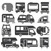 stock photo of truck-cabin  - set of 13 silhouette camping truck icons - JPG