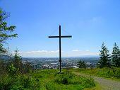 stock photo of burlington  - rear view of the cross overlooking burlington - JPG