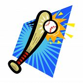 stock photo of baseball bat  - A vector illustration of a cartoon baseball bat hitting a baseball - JPG