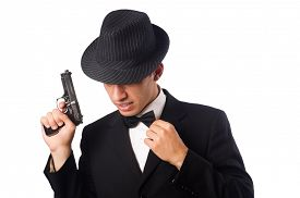 pic of handgun  - Young elegant man holding handgun isolated on white - JPG