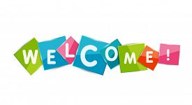 picture of colorful banner  - Welcome word on color square paper pieces - JPG