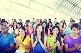 foto of applause  - Group People Casual Learning Lecture Applause Clapping Concept - JPG