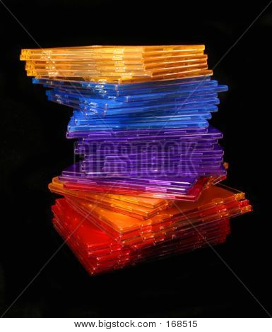 Colorful Cd Cases Over Black poster