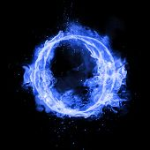 Fire letter O of burning blue flame. Flaming burn font or bonfire alphabet text with sizzling smoke  poster