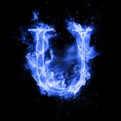 Fire letter U of burning blue flame. Flaming burn font or bonfire alphabet text with sizzling smoke  poster