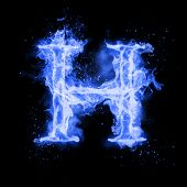 Fire letter H of burning blue flame. Flaming burn font or bonfire alphabet text with sizzling smoke  poster