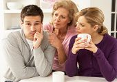 Senior Mother Interfering With Couple Having Argument At Home