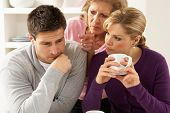 foto of mother law  - Senior Mother Interfering With Couple Having Argument At Home - JPG