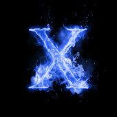 Fire letter X of burning blue flame. Flaming burn font or bonfire alphabet text with sizzling smoke  poster