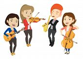 Band of musicians playing on musical instruments. Group of musicians playing on musical instruments. poster