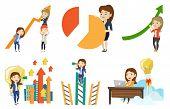 Caucasain business women holding growth graph. Cheerful business team with growth graph. Concept of  poster
