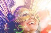 Brunette Brazilian wearing carnival costume poster