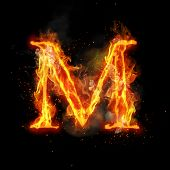 Fire letter M of burning flame. Flaming burn font or bonfire alphabet text with sizzling smoke and f poster