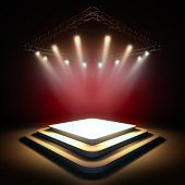 Mock up of blank template layout stage illuminated by spotlights. 3d render illustration. Copy space poster