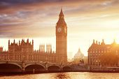 Big Ben and Westminster at sunset, London, UK poster