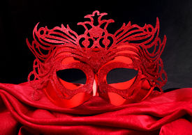 pic of masquerade mask  - Decorated mask for masquerade on red velvet - JPG