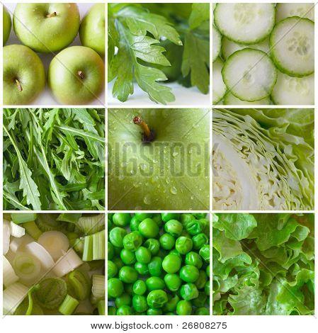 Постер, плакат: зеленые овощи и фрукты, холст на подрамнике