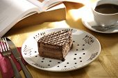 image of bakeshop  - close up shot of a sliced cake and tea - JPG