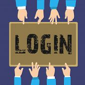 Handwriting Text Login. Concept Meaning Entering Website Blog Using Username And Password Registrati poster