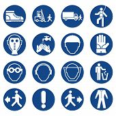 Set Of Safety Equipment Signs. Mandatory Construction And Industry Signs. Collection Of Safety And H poster