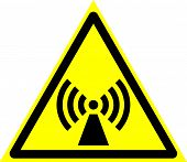 Triangle Sign: electromagnetic Field. Triangle Sign: electromagnetic Radiation. Sign: electroma poster