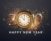 Vector Stock Gold 2019 Christmas Or New Year Celebration Premium Luxury Dark Background With Clock M poster