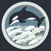 Vector Illustration Of A Black Killer Whale Swimming In Colorful Waves poster