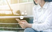 Hand Of Woman Typing Text On Mobile Smartphone. Online Live Chat Chatting On Application Communicati poster