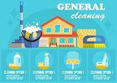 General Cleaning Concept. Dry Cleaning. Cleaning Business. Bucket, Brush, Mop And Detergent. Adverti poster
