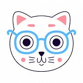 Cute Kitty Head. Cat Logo. Art For T-shirt. poster