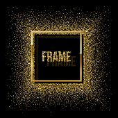 Golden Square With Shadow And Frame Made Of Golden Glitter Isolated On Black Background. Vector Gold poster