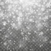 Christmas Snow. Falling Snowflakes On Dark Background. Snowflake Transparent Decoration Effect. Xmas poster