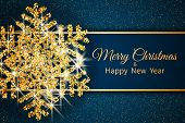 Merry Christmas Greeting Card. Gold Snowflake And Glitter On Dark Blue Background. Merry Christmas A poster