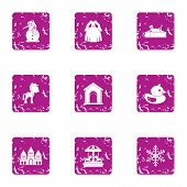 Female Gladness Icons Set. Grunge Set Of 9 Female Gladness Vector Icons For Web Isolated On White Ba poster