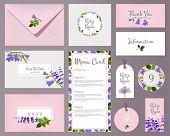 Florals Wedding Cards. Invited Placards Floral Decoration Flower Frames Vector Template. Wedding Inv poster